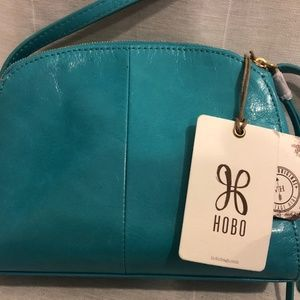 "HOBO ""Evella"" leather crossbody: Turquoise"